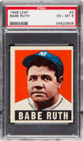 Baseball Cards:Singles (1940-1949), 1948 Leaf Babe Ruth #3 PSA EX-MT 6. ...