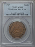 Colonials, 1787 1C Fugio Cent, New Haven Restrike, Brass, MS63 PCGS. N. 104-FF, W-17560, R.3....