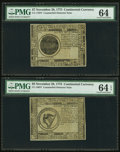 Colonial Notes:Continental Congress Issues, Continental Currency November 29, 1775 Counterfeit Detector Notes - $7 PMG Choice Uncirculated 64 & PMG Choice Uncirculated 64... (Total: 2 notes)