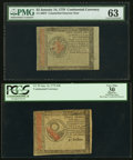 Colonial Notes:Continental Congress Issues, Two Counterfeit Detector Notes - Continental Currency January 14,1779 $2 PMG Choice Uncirculated 63 & $30 PCGS Apparent Very...
