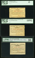 Colonial Notes:New York, Three Water Works Notes - New York January 6, 1776 (Water Works) 2sPCGS New 62, March 5, 1776 8s PCGS Very Choice New 64PPQ &...(Total: 3 notes)