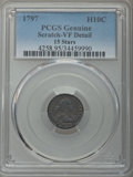 Early Half Dimes, 1797 H10C 15 Stars -- Scratch -- PCGS Genuine. VF Details. NGCCensus: (7/90). PCGS Population: (16/138). CDN: $4,000 Whsle...