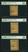 Colonial Notes:Pennsylvania, Seven Notes from the Same Sheet - Pennsylvania April 10, 1777 3dPMG Choice Uncirculated 64, 4d PMG Choice Uncirculated 63 Net...(Total: 7 notes)