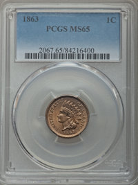 1863 1C MS65 PCGS. PCGS Population: (317/66). NGC Census: (223/24). MS65. Mintage 49,840,000. ...(PCGS# 2067)