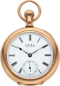 Timepieces:Pocket (pre 1900) , Waltham 14k Gold American Watch Co. Grade 88, 19 Jewel 16 Size. ...