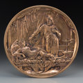 Decorative Arts, French:Other , An Emile Louis Picault Bronze Wall Plaque: Othello andDesdemona, late 19th century. Marks: E. Picault. 14inche...