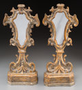 Decorative Arts, Continental:Other , A Pair of Carved and Polychromed Wood Mirrored Relic Stands, 18thcentury. 18-3/4 inches high (47.6 cm). PROPERTY FROM THE... (Total:2 Items)