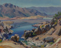 Fine Art - Painting, American:Modern  (1900 1949)  , Christian von Schneidau (American, 1893-1976). High DesertLake. Oil on canvasboard. 16 x 20 inches ...