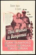 "Movie Posters:Drama, This Woman Is Dangerous (Warner Brothers, 1952). One Sheet (27"" X41""). Drama.. ..."