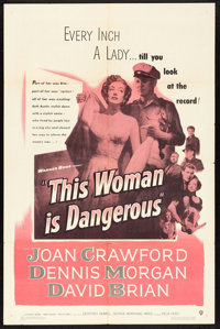 "This Woman Is Dangerous (Warner Brothers, 1952). One Sheet (27"" X 41""). Drama"