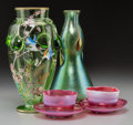 Art Glass:Loetz, Two Harrach and Loetz Art Glass Vases with a Pair of Opalescent andRed Glass Cups and Saucers, early 20th century. 10 inche... (Total:4 Items)