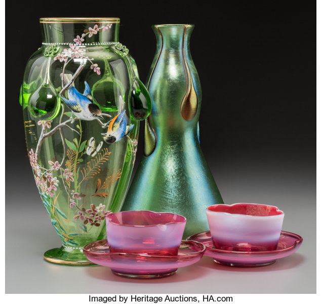 Two Harrach And Loetz Art Glass Vases With A Pair Of Opalescent