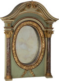 Furniture : Continental, A Monumental Painted and Partial Gilt Architectural OvermantleMirror. 73 h x 55 w x 13-3/4 d inches (185.4 x 139.7...