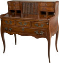 Furniture , A French Provincial-Style Desk with Faux Book Chamber. 38-3/4 h x 39-1/4 w x 19-1/2 d inches (98.4 x 99.7 x 49.5 cm). ...
