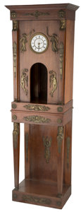 Timepieces:Clocks, A Large French Second Empire Mahogany Clock Cabinet with Neoclassical Gilt Bronze Mounts, late 19th century. 79-1/4 h x 22-1... (Total: 2 Items)