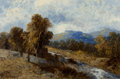 Fine Art - Painting, American, J. Knight (20th Century). By the Stream. Oil on canvas. 20 x30 inches (50.8 x 76.2 cm). Signed lower left: J. Knight. ...