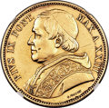 Italy:Papal States, Italy: Papal States. Pius IX gold 100 Lire 1868-R Anno XXIII UNC Details (Surface Hairlines) NGC,...