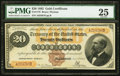 Large Size:Gold Certificates, Fr. 1176 $20 1882 Gold Certificate PMG Very Fine 25.. ...