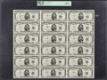 Small Size:Silver Certificates, Fr. 1655 $5 1953 Silver Certificates. Courtesy Autographed Uncut Sheet of 18. PCGS Gem New 66PPQ.. ...