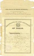 Political:Miscellaneous Political, Partially Printed Republic of Texas Document Signed,...
