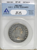 Early Half Dollars, 1803 50C Large 3--Cleaned--ANACS. XF45 Details....
