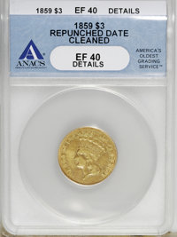 1859 $3 --Repunched Date, Cleaned--ANACS. XF Details....(PCGS# 7979)