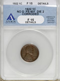 Lincoln Cents, 1922 No D 1C Strong Reverse--Corroded--ANACS. Fine 15 Details....