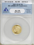 1911-D $2 1/2 --Ex-Jewelry, Cleaned--ANACS. AU55 Details....(PCGS# 7943)