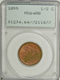 Half Cents, 1855 1/2 C MS64 Red and Brown PCGS....