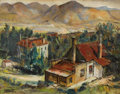 Fine Art - Painting, American:Modern  (1900 1949)  , LOUIS BASSI SIEGRIEST (American 1889-1989). California MiningTown. Oil on board. 20 x 25-1/2 inches (50.8 x 64.8 cm). S...