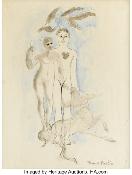 FRANCIS PICABIA (French 1879-1953) The Couple and Centaur Charcoal, watercolor and pencil on paper 12-1/4 x 9-1/2 inc...