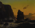 Fine Art - Painting, European:Antique  (Pre 1900), HERMAN MEVIUS (German 1820-1864). Waring the Storm, 1848.Oil on canvas. 11-1/4 x 13-1/4 inches (28.6 x 33.7 cm). Signed...