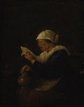 Fine Art - Painting, European:Antique  (Pre 1900), Manner of JAN STEEN (Dutch, 1626-1679). Portrait of a WomanReading, 18th Century. Oil on beveled wood panel. 9-1/2 x 7-...