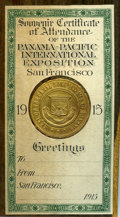 Expositions and Fairs, Uncertified 1915 Panama-Pacific International Exposition So-CalledQuarter. Housed within a small wooden frame with affixed ...