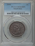 Large Cents: , 1846 1C Small Date MS64 Brown PCGS. PCGS Population: (39/10). NGC Census: (23/21). CDN: $370 Whsle. Bid for problem-free NG...