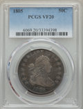 Early Half Dollars: , 1805 50C VF20 PCGS. PCGS Population: (51/411). NGC Census:(17/206). CDN: $650 Whsle. Bid for problem-free NGC/PCGS VF20. M...