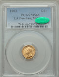 Commemorative Gold, 1903 G$1 Louisiana Purchase, McKinley Gold Dollar MS66 PCGS. CAC.PCGS Population: (512/118). NGC Census: (352/125). CDN: $...