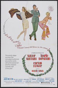 "Cactus Flower (Columbia, 1969). One Sheet (27"" X 41""). Comedy. Starring Walter Matthau, Ingrid Bergman, Goldie..."