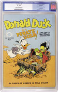"Golden Age (1938-1955):Funny Animal, Four Color #9 Donald Duck ""Pirate Gold"" - Rockford pedigree (Dell,1942) CGC VF 8.0 Cream to off-white pages. The word ""geni..."