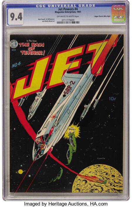 Jet Powers #4 Mile High pedigree (Magazine Enterprises, 1951) CGC NM 9.4 Off-white to white pages. Also known as A-1 #38...