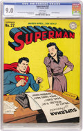 Golden Age (1938-1955):Superhero, Superman #27 (DC, 1944) CGC VF/NM 9.0 White pages. Superman may not appear to be adept at typing, using only two fingers to ...