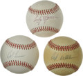 Autographs:Baseballs, Baseball Hall of Fame Pitchers Single Signed Baseballs Lot of 3.Each of the three men represented with this lot plied his ...