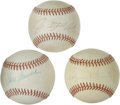 Autographs:Baseballs, Baseball Hall of Fame Pitchers Single Signed Baseballs Lot of 3.Three respectable signatures, each appearing on the sweet ...