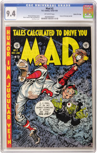 Mad #2 Gaines File pedigree (EC, 1952) CGC NM 9.4 Off-white pages. A Jack Davis baseball cover absolutely crammed from e...