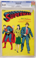 Golden Age (1938-1955):Superhero, Superman #30 (DC, 1944) CGC VF 8.0 White pages. On this issue's Jack Burnley cover, Lois passes up Superman for...Clark! Has...
