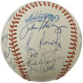 Autographs:Baseballs, 1983 Baltimore Orioles World Champion Team Signed Baseball. On theoffered OAL (MacPhail) baseball we present twenty-one si...
