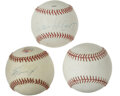Autographs:Baseballs, Baseball Stars Single Signed Baseballs Lot of 3. The Hall of Fameduo of Eddie Mathews and Willie McCovey have each provide...