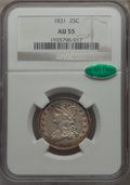 Bust Quarters, 1831 25C Small Letters AU55 NGC. CAC. NGC Census: (42/275). PCGS Population: (63/248). AU55. Mintage 398,000. . From Th...