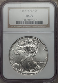 1997 $1 Silver Eagle MS70 NGC. NGC Census: (0). PCGS Population: (0). From The Digiovanni de Abruzzi Collection. &lt...