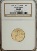 Modern Issues, 1996-W G$5 Olympic/Cauldron Gold Five Dollar MS70 NGC....